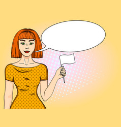 Pop art red haired girl with a white flag woman vector