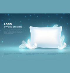 Realistic dream concept comfort sleep bed relax vector