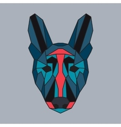 Red and green low poly dog vector image