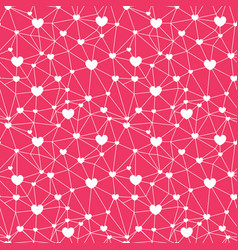 red web hearts seamless repeat pattern vector image