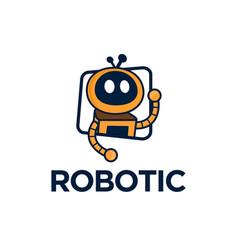 Robotic logo cartoon character design modern vector