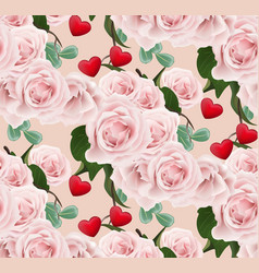 roses pattern background valentines day romantic vector image