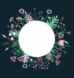 round flower doodles wreath hand drawn isolated on vector image