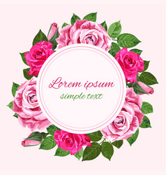 Rred and pink roses wreath on the white copy vector