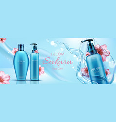 sakura cosmetics bottles mockup banner face care vector image