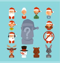santa claus avatar face characters face vector image