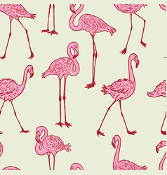 seamless background of the cartoon pink flamingos vector image