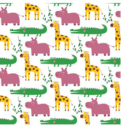 seamless cartoon pattern with african vector image