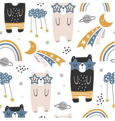 Seamless childish pattern with cute bears rainbow vector