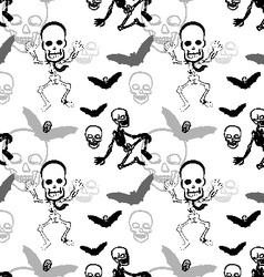 Seamless pattern of skeleton skull and bat on vector image