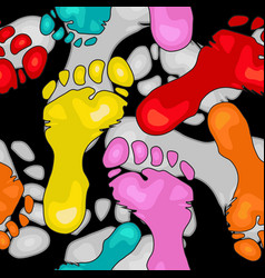 Seamless pattern with colorful footprints vector
