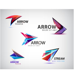 set abstract logos arrows pointers vector image