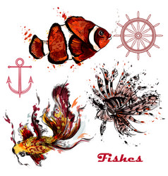 set hand drawn fishes in watercolor style vector image