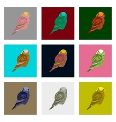 Set in flat style owl vector