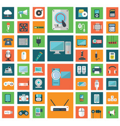 set modern flat electronic devices icons vector image