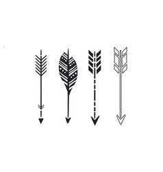 set of 4 black hand drawn arrows simple hipster vector image