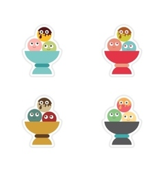 Set of stickers on a white background balls ice vector