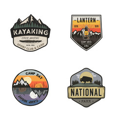Set of vintage hand drawn travel logos hiking vector