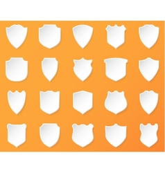 Shiny White Shields on a Orange Background vector image