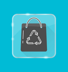 Shopping bag silhouette icon in flat style on vector
