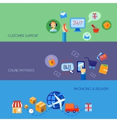 Shopping e-commerce banner set flat vector image