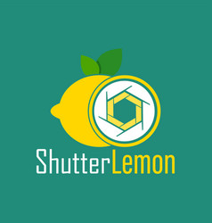 Shutter lemon photography logo design template vector