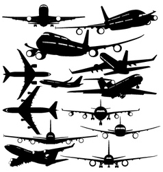 Silhouettes of passenger airliner vector