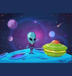 Space colonization background alien ufo vector