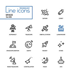 Space concept - line design style icons set vector