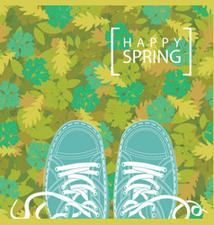 Spring banner with the words and green shoes vector