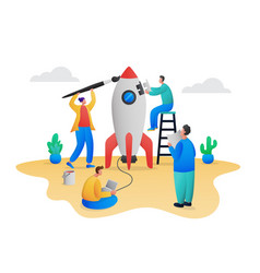 startup teamwork process concept scene vector image