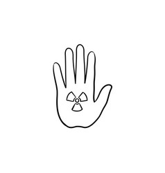 stop hand sign hand drawn sketch icon vector image