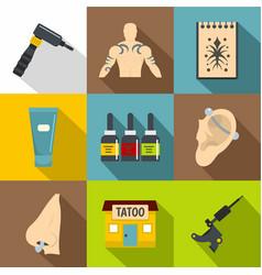 Tattoo salon icons set flat style vector