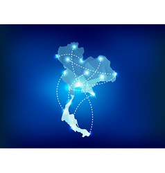 Thailand country map polygonal with spot lights vector image