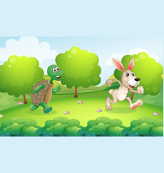 turtle and rabbit running in park vector image