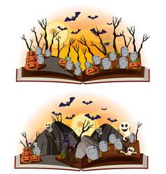 Two halloween scenes at graveyard vector