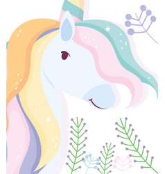 unicorn rainbow hair and branch fantasy magic cute vector image