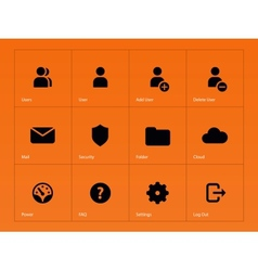 User Account icons on orange background vector image
