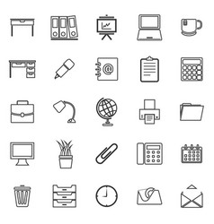 workspace line icons on white background vector image