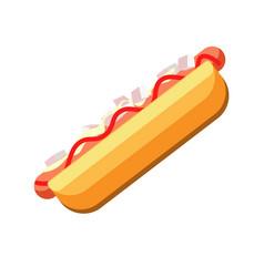 fresh hot dog with tasty sauces isolated cartoon vector image