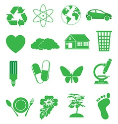 green ecology icons set vector image