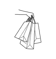 hand holding blank shopping bags vector image vector image