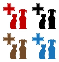 set colorful veterinary care icon vector image vector image