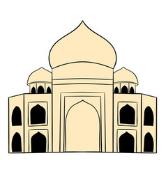 taj mahal india icon cartoon vector image