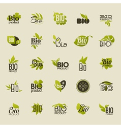Bio product Set of labels and emblems vector image vector image