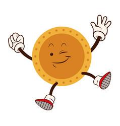 cartoon golden coin character funny happy vector image