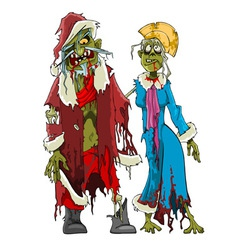 cartoon zombie Santa Claus and Snow Maiden zombies vector image vector image