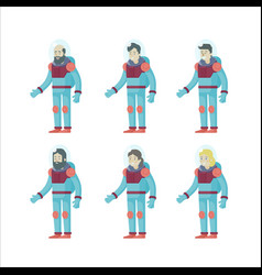 colorful flat astronauts set vector image vector image