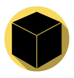 cube sign flat black icon vector image