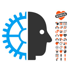 cyborg head icon with lovely bonus vector image